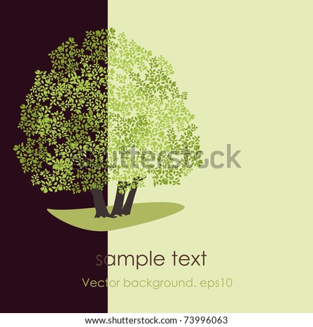 Card with stylized vector tree. EPS10