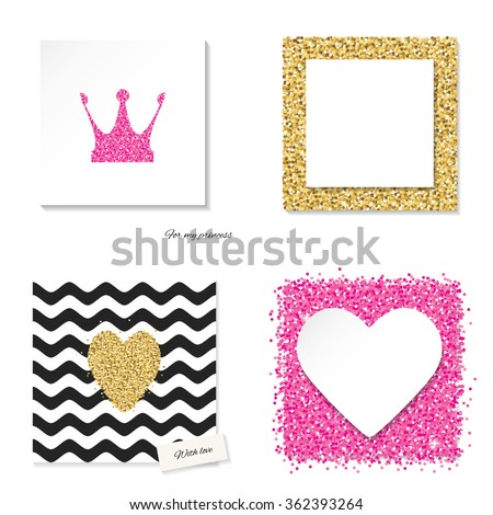 cards set with glitter pink