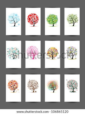 12 cards with trees design
