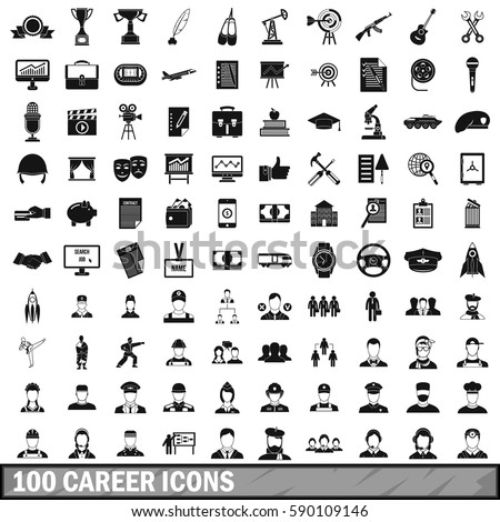 100 career icons set in simple
