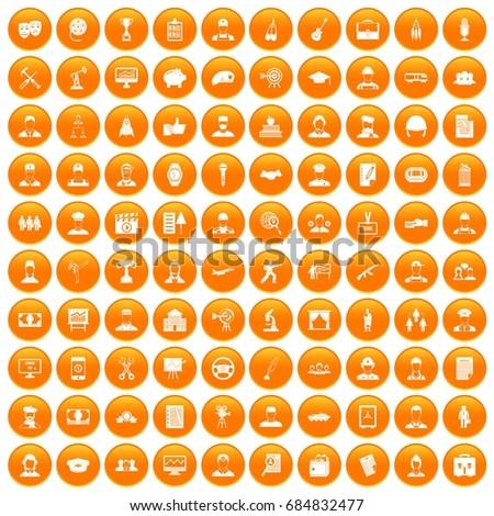 100 career icons set orange