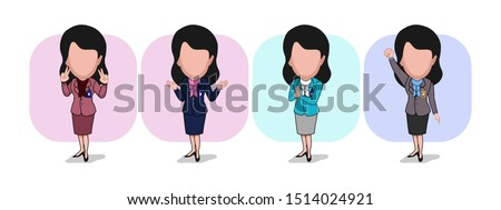 caricature templates with blank faces for photos. illustration of office worker with several variations of clothes and poses with a plain white background. vector cartoon.