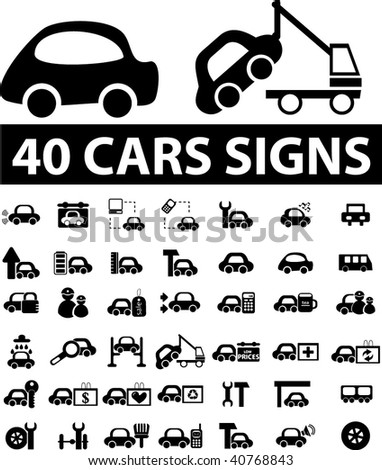 40 cars signs vector