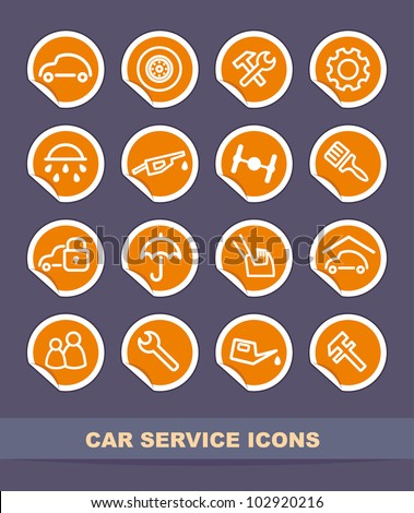 Cars spare parts and service icons on stickers