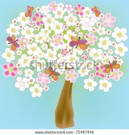Cartoon blossoming spring tree with butterflies