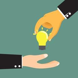 Cartoon businessman hand holding idea light bulb, hand giving idea vector illustration.