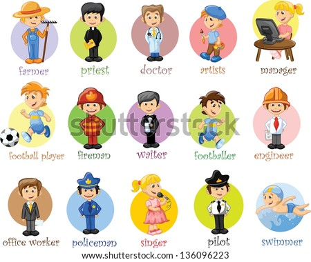 Cartoon characters of different professions stock vector