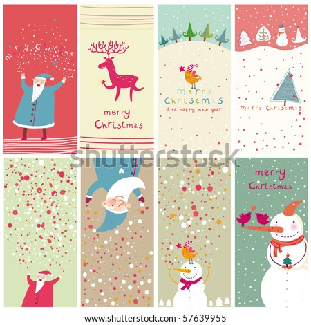 8 cartoon Christmas banners