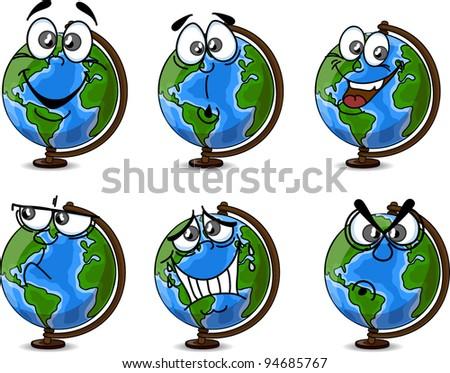 Cartoon Globe with emotions