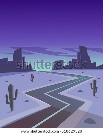 Cartoon illustration of the desert in the night with asphalt road.