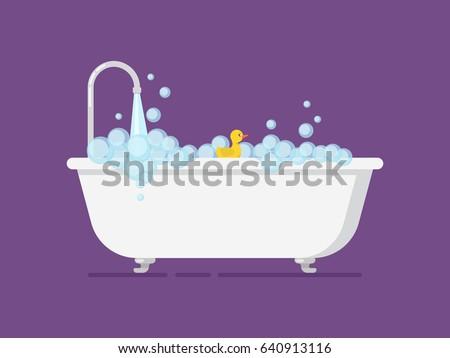 Cartoon tub full foam with open tap. Gain bath flat vector illustration