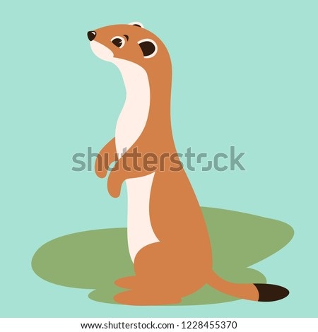 cartoon weasel vector illustration flat style profile view