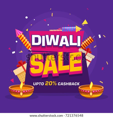 20% Cashback Diwali Sale banner decorated with Oil lamp, Firework and Gift Boxes for Festival celebration.