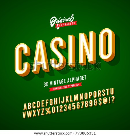 'Casino' Vintage 3D Sans Serif Condensed Alphabet with Rich Colors. Retro Typography. Vector Illustration.