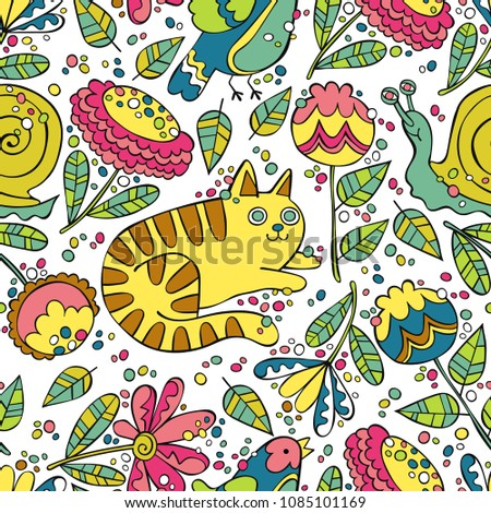 Cat, bird, snail. Flowers and leaves. Seamless vector pattern (background).