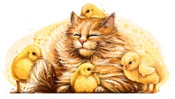 Cat with chickens. Wall sticker. Artistic, color, hand-drawn image of a happy fluffy cat surrounded by small yellow chickens in a watercolor style on a white background.