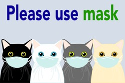 4 cats with the different color (black, white, gray and orange) is wearing green mask with blue backgroud and text. Disease Prevention.   personal healthcare. illustrator vector.
