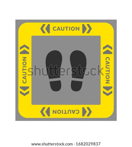 """Caution"" footprint stickers. Social distancing. Please keep a safe distance. Social distance. Warning sign sticker reminding. Floor Stickers"