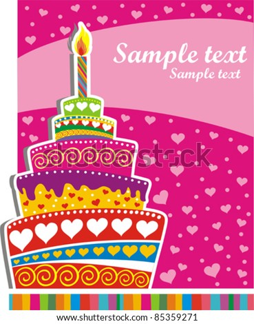 Celebration background with Birthday cake and place for your text vector illustration
