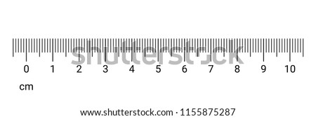 10 centimeters ruler measurement tool with numbers scale. Vector cm chart with millimeter grid system