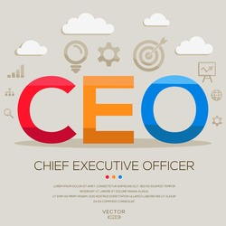 CEO mean (chief executive officer) ,letters and icons,Vector illustration.