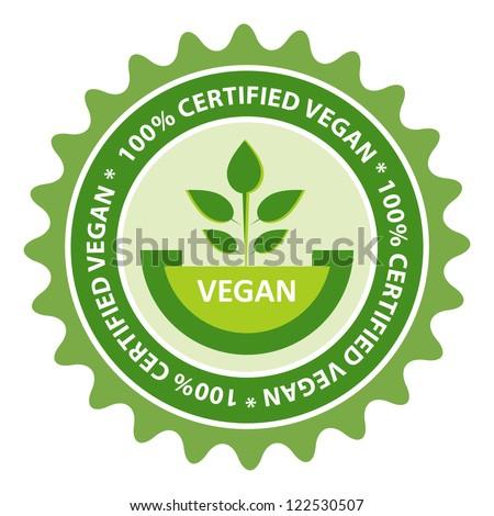 100% Certified Vegan food label.