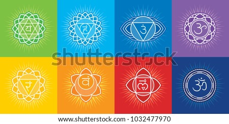 7 chakras of human body and symbol OM - editable vector set. Sahasrara, Ajna, Vishuddha, Anahata, Manipura, Svadhisthana, Muladhara - energy centers of body, used in Ayurveda and Hinduism.