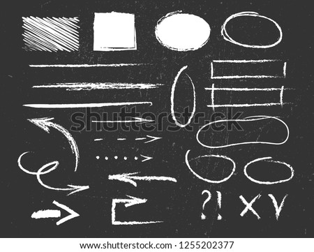 Chalk graphic elements collection - arrows, frames, lines, rectangles, oval and round shapes. Chalk forms on black board. Vector illustration
