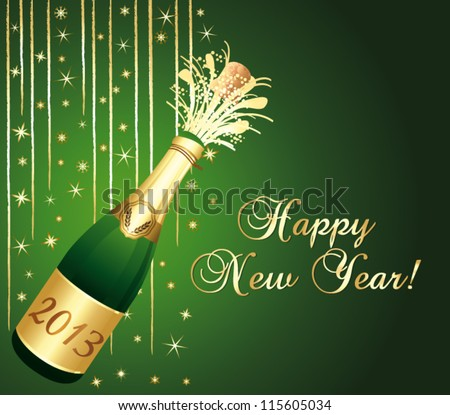 2013 Champagne bottle popping. Beautiful green and gold greeting card. Happy new year ! Vector illustration.