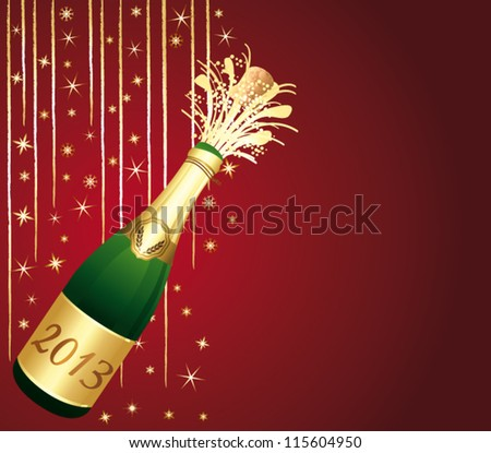 2013 Champagne bottle popping. Beautiful red and gold greeting card. Happy new year ! Vector illustration.