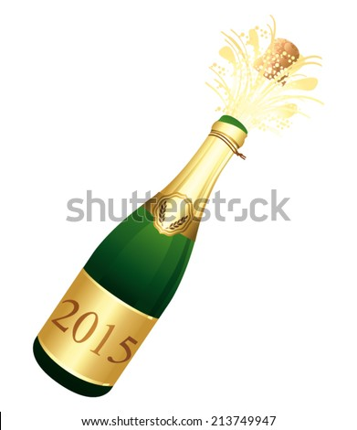 2015 Champagne bottle Vector icon