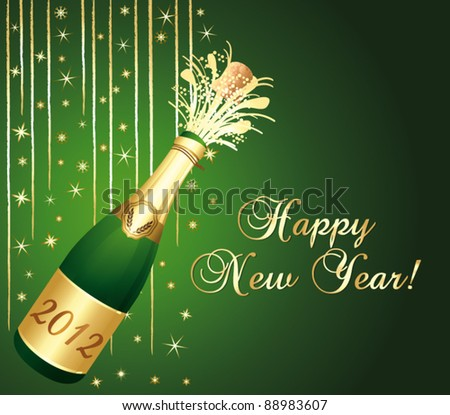 2012 Champaign bottle popping. Green and gold happy new year greeting card. Vector illustration.
