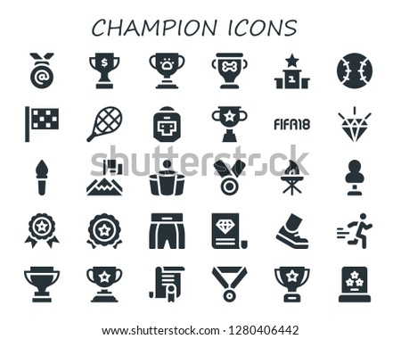 champion icon set. 30 filled champion icons. Simple modern icons about  - Medal, Trophy, Podium, Tennis, Finish flag, Boxer, Fifa, Quality, Torch, Achievement, Beer pong, Punching bag
