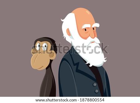 Charles Darwin Funny Cartoon Illustration