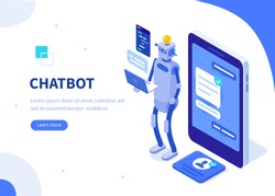 Chatbot concept. Can use for web banner, infographics, hero images. Flat isometric vector illustration isolated on white background.