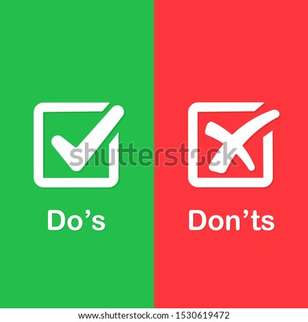 Check marks ui button with dos and donts. Sign post indicating Do's vs Don'ts. Concept of poor or good test result or performance review. Foto stock ©