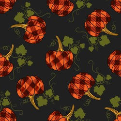 Checkered pumpkins with stems and leaves on a dark background. Farmhouse Decor. Vector design .