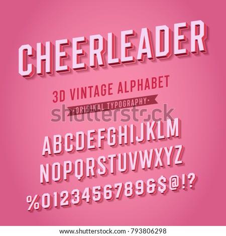 'Cheerleader' Vintage Retro 3D Pink Varsity College Alphabet. Original Athletic Department Typeface. Retro Typography. Vector Illustration.