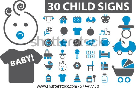 30 child & baby signs. vector