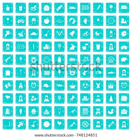 100 child center icons set in grunge style blue color isolated on white background vector illustration