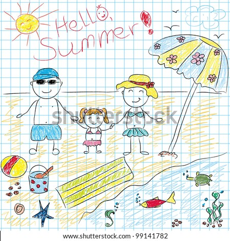 Child drawing future summer vacation.Vector illustration