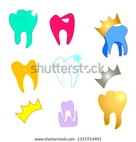 Child  tooth stamotology icon set.Vector cartoon illustrations. Dental King Logo Design Template.