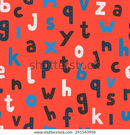 Childlike doodle ABC seamless pattern flat design colors