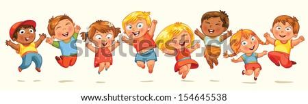 children jump for joy. banner. ...