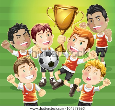 Children Soccer champion with winners trophy. cartoon character.
