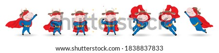 2021 Chinese New Year mascot - Ox, bull, cow, buffalo. Set of cute cool cartoon ox super hero characters in mask, cloak. Different motion poses, running, flying. Vector isolated on white background