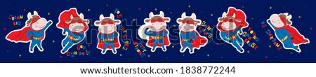 2021 Chinese New Year mascot - Ox, bull, cow, buffalo. Set of stickers, cute cool cartoon ox super hero in mask, cloak. Different motion poses, running, flying. Vector isolated on navy blue background