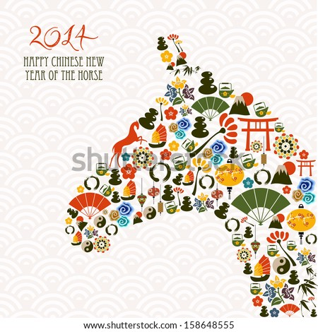 2014 Chinese New Year of the Horse eastern elements composition. Vector file organized in layers for easy editing.