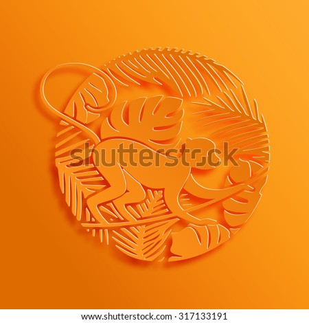 2016 Chinese New Year Symbol. Decorative Monkey in Jungle. Paper Cutting Oriental Tradition Style Illustration.