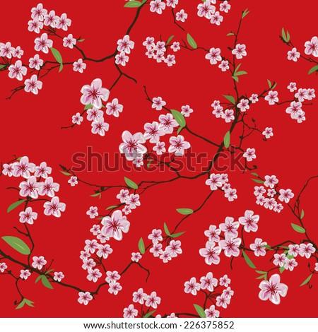 chinese sakura kimono red